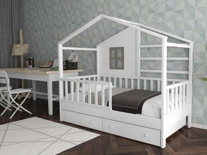 Белая кровать-домик «ДК-07»