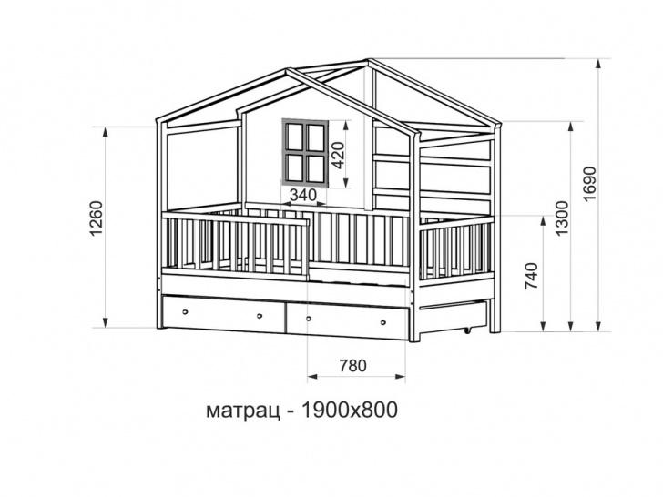 Белая кровать-домик «ДК-07» с размерами