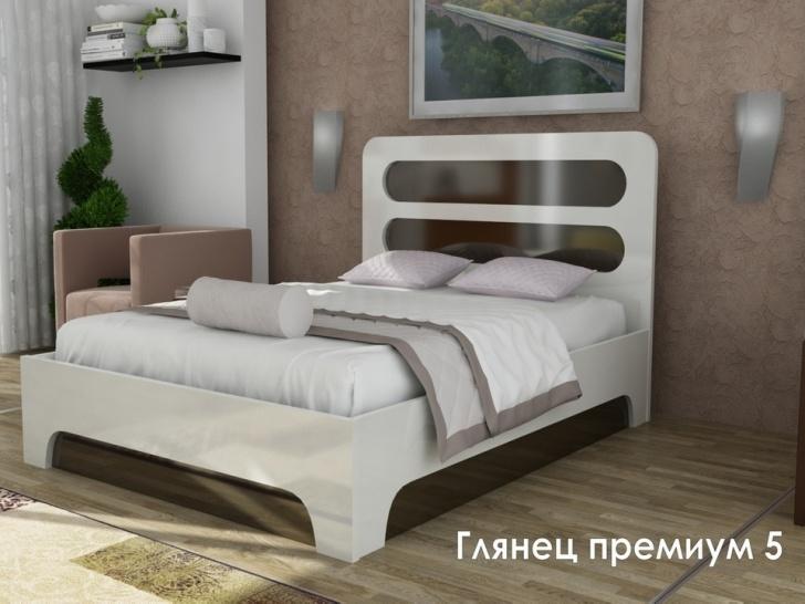 Белая кровать МДФ «Глянец Премиум-5»