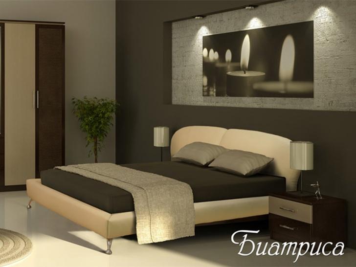 Мягкая кровать из искусственной кожи «Биатриса»