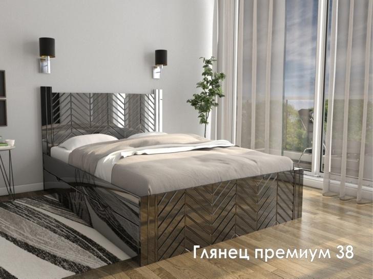 Черная двуспальная кровать «Глянец Премиум – 38»