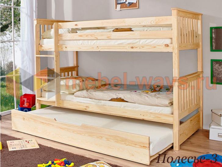 Деревянная двухъярусная кровать с выдвижным спальным местом «Полесье-3» без покраски