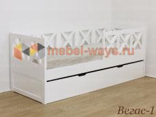 Деревянная подростковая кровать с выкатной кроватью для двоих детей или ящиком Вегас-1