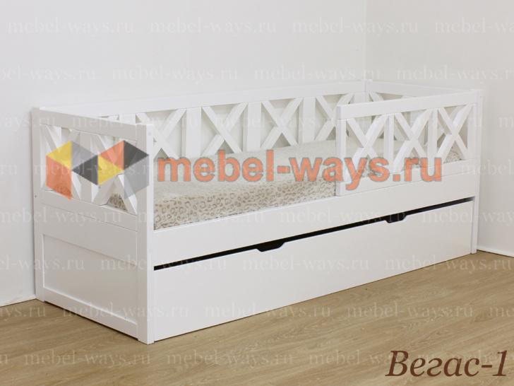 Деревянная подростковая кровать Вегас-1 с бортиком