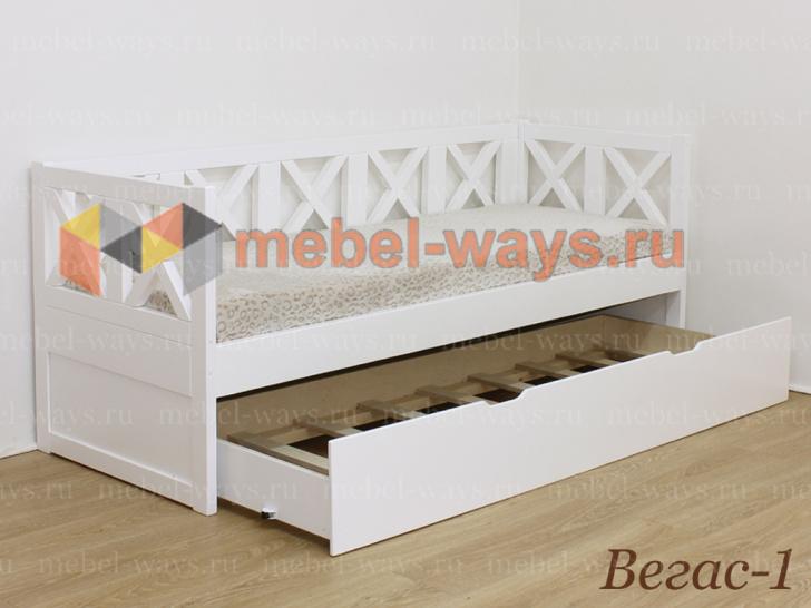 Деревянная подростковая кровать Вегас-1 с выкатным спальным местом