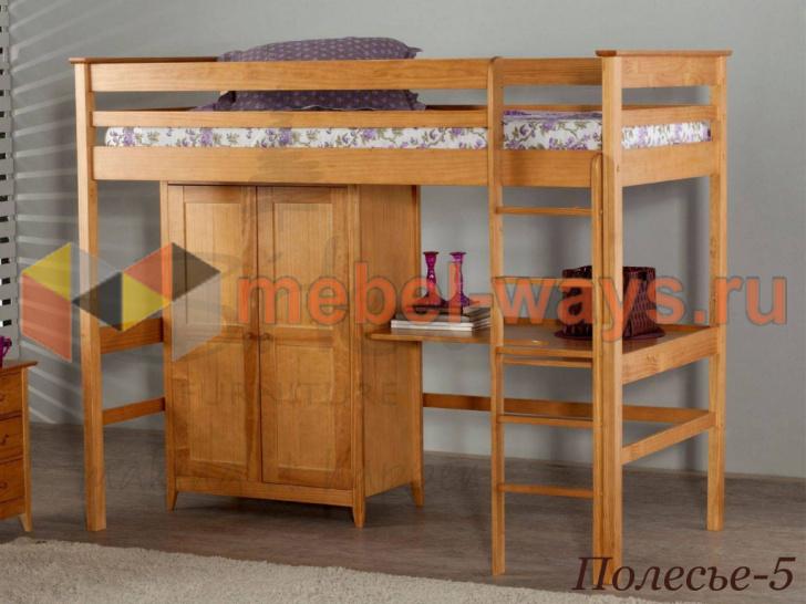 Детская кровать-чердак со шкафом и столом «Полесье-5» без покраски
