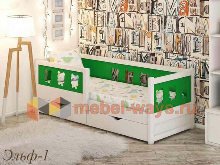 Детская кровать с бортиком и выдвижными ящиками «Эльф-1»