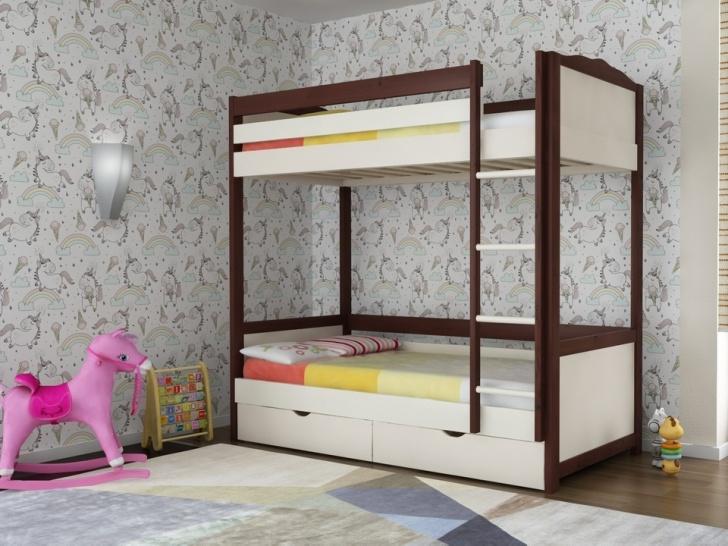 Двухэтажная кровать из дерева «Руфина 26» в контрастном исполнении