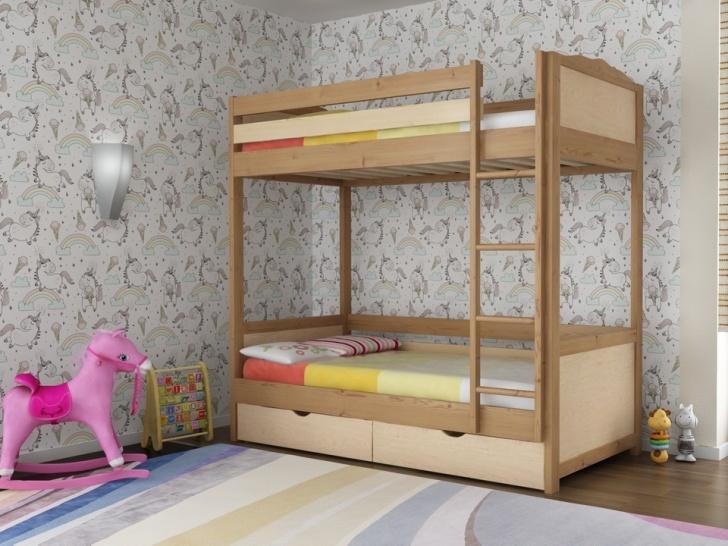 Двухэтажная кровать из дерева «Руфина 26» в двух оттенках дерева