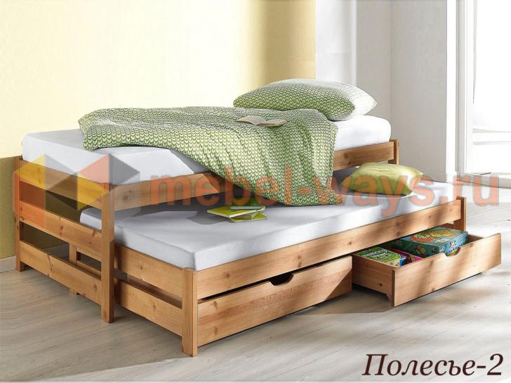 Двухместная детская кровать с выдвижным спальным местом и ящиками «Полесье-2» без покраски
