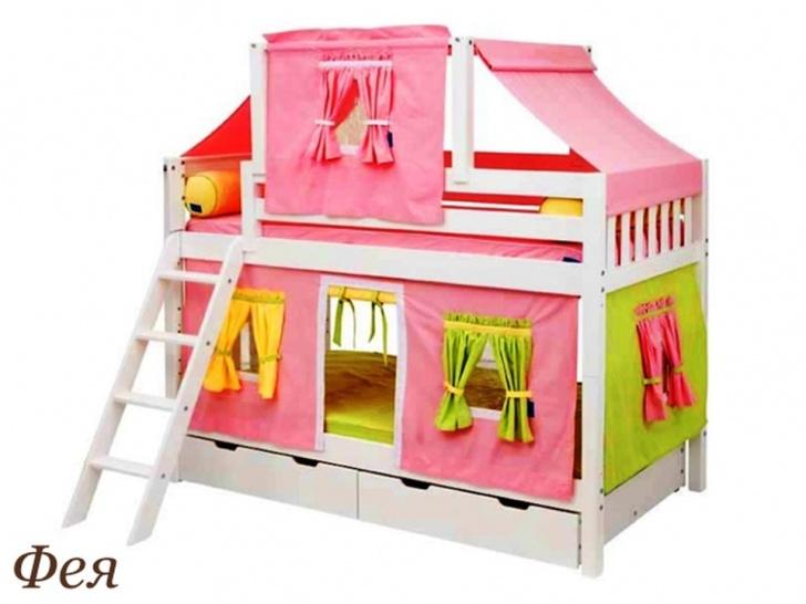 Кровать-чердак с игровой зоной для девочек «Фея»