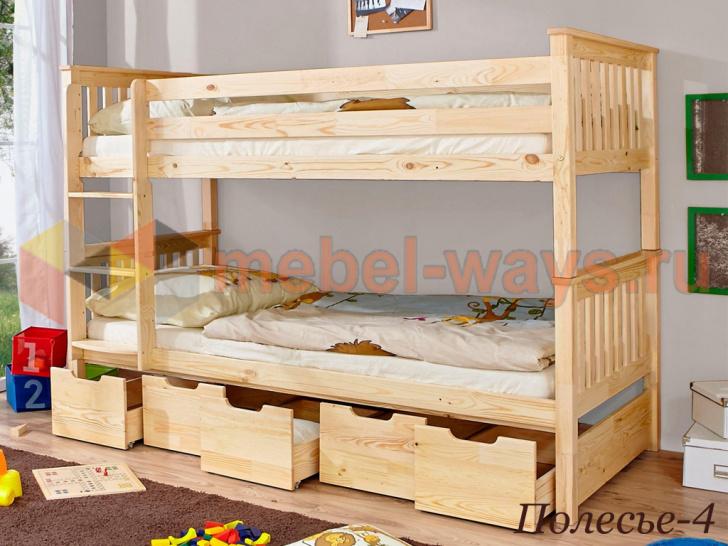 Двухъярусная кровать из дерева с выдвижными ящиками «Полесье-4» без покраски