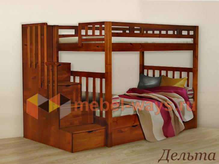 Двухъярусная кровать из массива Дельта с лестницей комодом