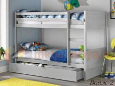 Двухъярусная кровать из сосны с большим ящиком внизу «Вояж-2»