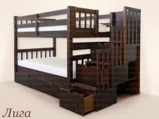 Двухъярусная кровать из массива с ящиками «Лига»