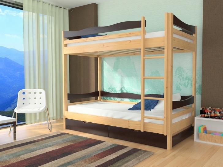 Двухъярусная кровать с бортиками «Руфина 37» в контрастных оттенках дерева