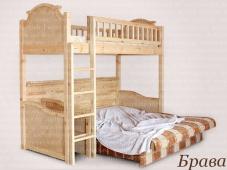 Двухъярусная кровать с диваном внизу для родителей «Брава»