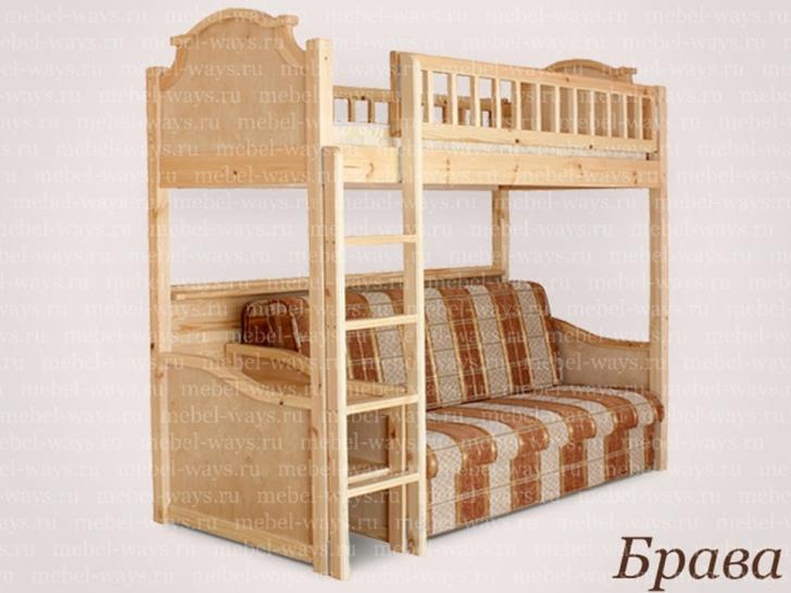 Двухъярусная кровать с диваном «Брава»