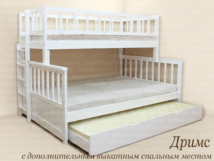 Двухъярусная выдвижная кровать для детей «Дримс»