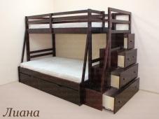 Двухъярусная кровать с лестницей комодом из массива «Лиана»