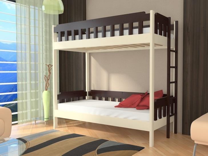 Двухъярусная кровать с лестницей сбоку «Руфина 38» в контрастных оттенках дерева