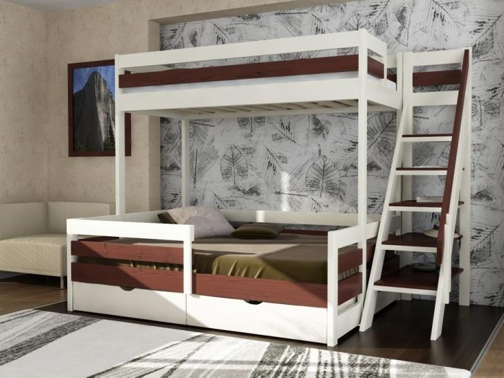 Двухъярусная кровать с местом для родителей «Руфина 28» в контрастных оттенках