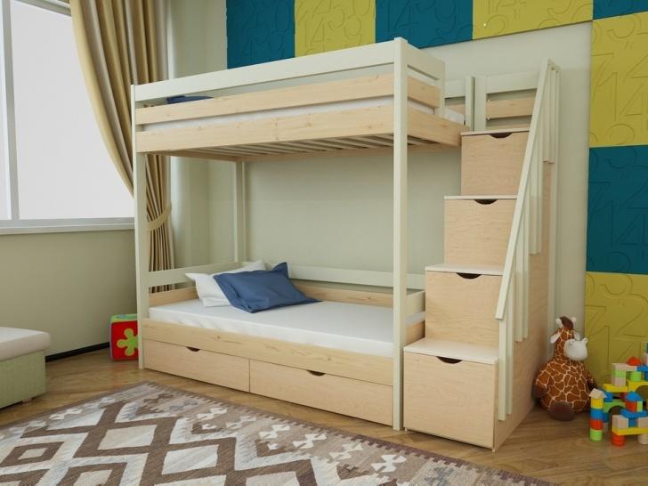 Двухъярусная кровать с ступеньками ящиками «Руфина 23» в двух цветах