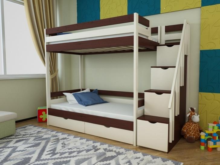 Двухъярусная кровать с ступеньками ящиками «Руфина 23» в контрастном исполнении