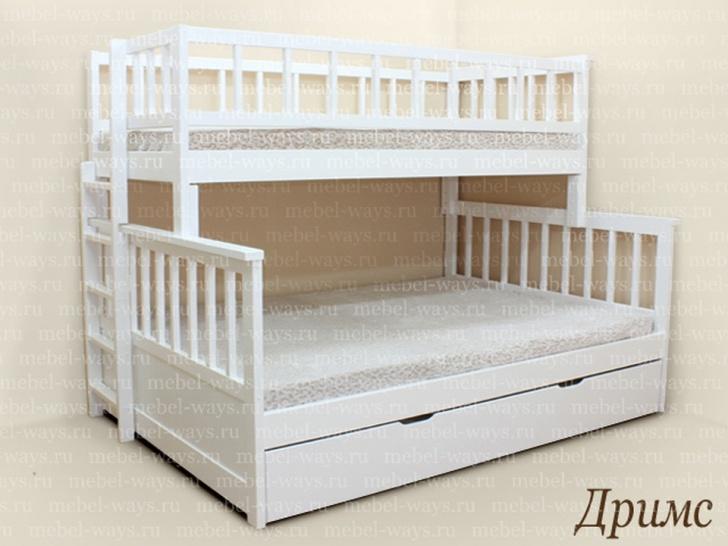 Двухъярусная кровать с широким нижним спальным местом «Дримс»