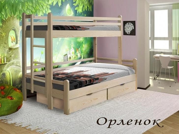 Двухъярусная кровать с кроватью внизу для родителей «Орленок»