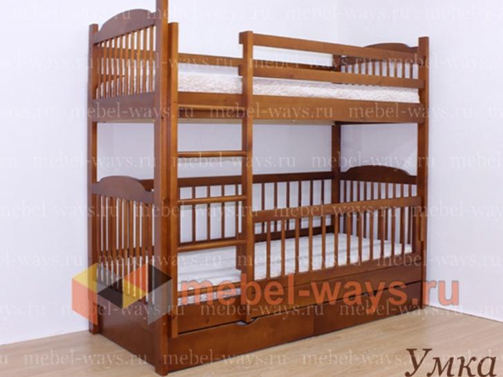 Двухъярусная кровать со съемным бортиком «Умка»