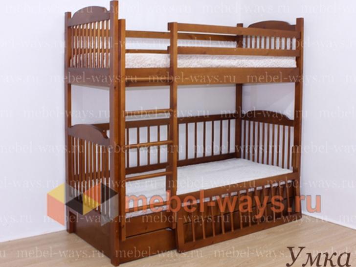 Двухъярусная кровать со съемным бортиком «Умка» на первом ярусе кровати
