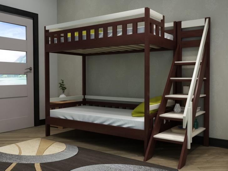 Двухъярусная кровать стеллаж «Руфина 39» в контрастных оттенках дерева