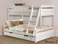 Двуспальная двухэтажная кровать из дерева с лестницей «Вояж-4»