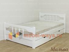 Двуспальная кровать из дерева с ящиками для белья Мальва