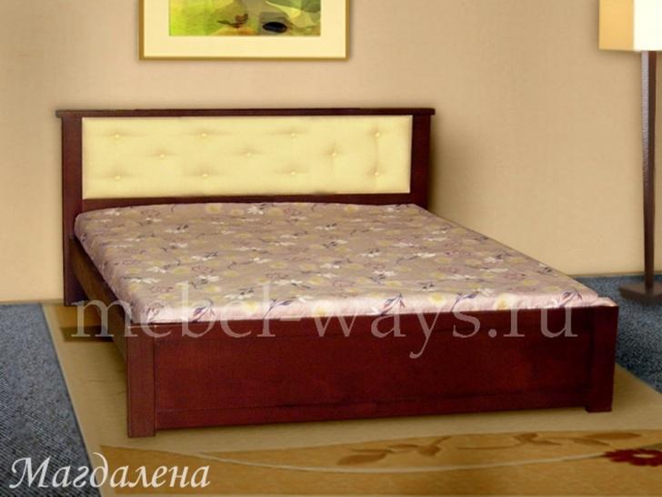 Двуспальная кровать с кожаным изголовьем «Магдалена»