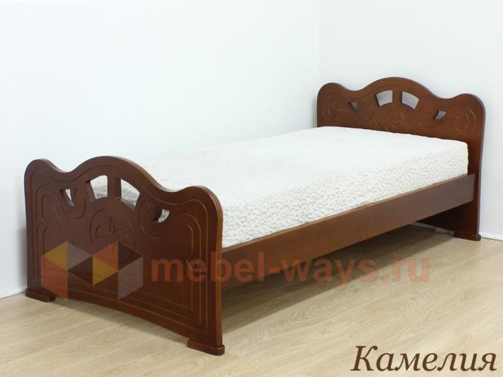 Двуспальная кровать с красивой спинкой Камелия