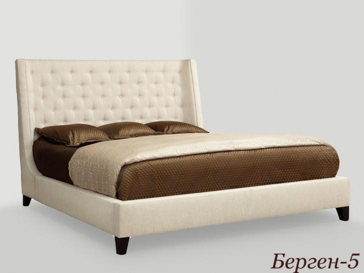 Двуспальная кровать с высоким мягким изголовьем «Берген-5»