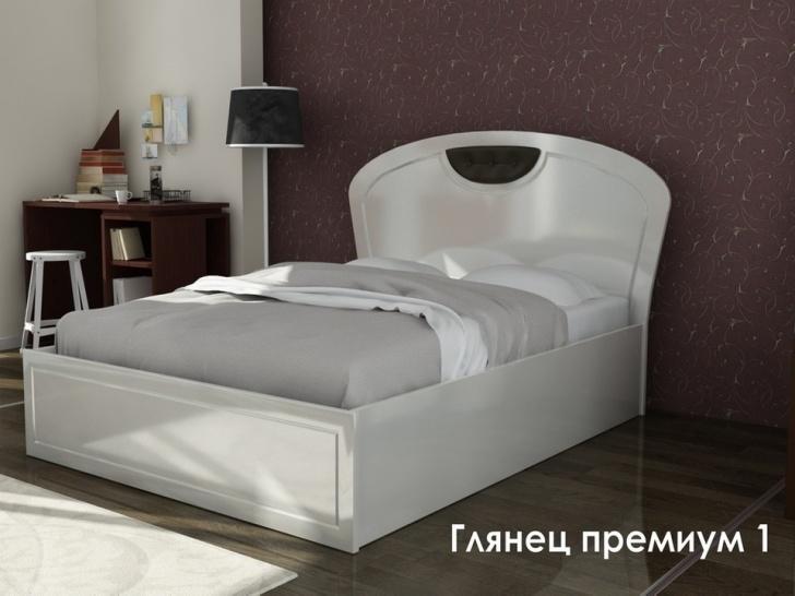 Глянцевая белая кровать «Глянец Премиум-1»