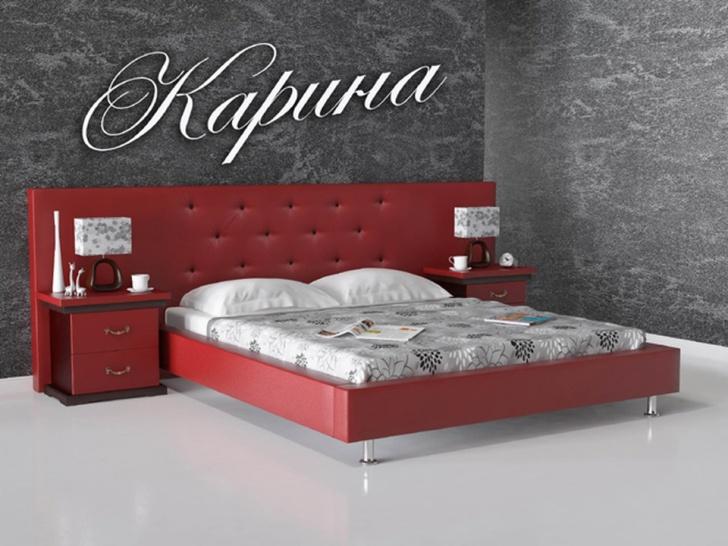 Двуспальная кровать «Карина» с широким изголовьем