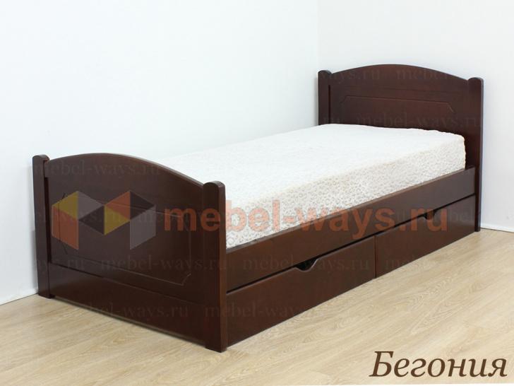 Классическая деревянная кровать с двумя спинками «Бегония»