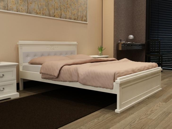Красивая белая кровать из дерева «Идиллия-11»