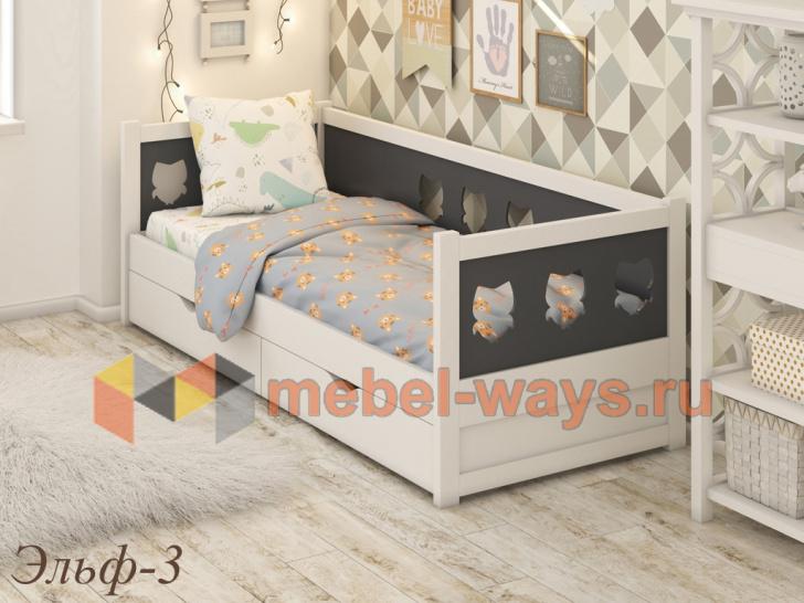 Красивая кровать из массива для детей «Эльф-3»