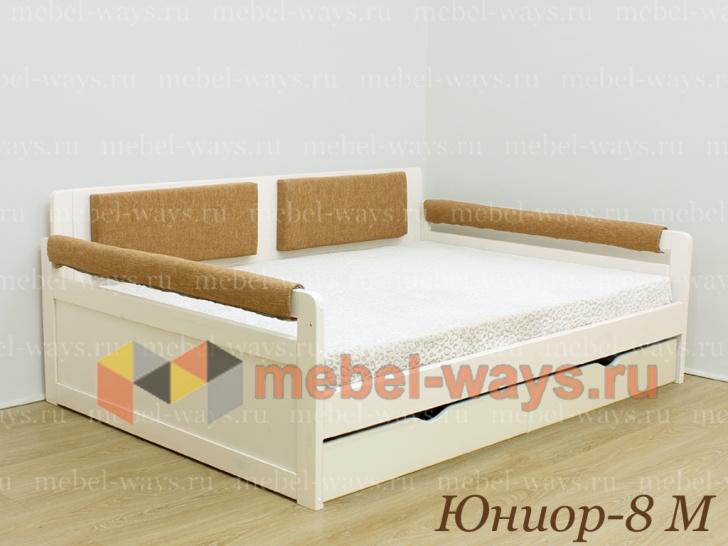 Красивая кровать-тахта с мягкой спинкой и с ящиками Юниор-8М