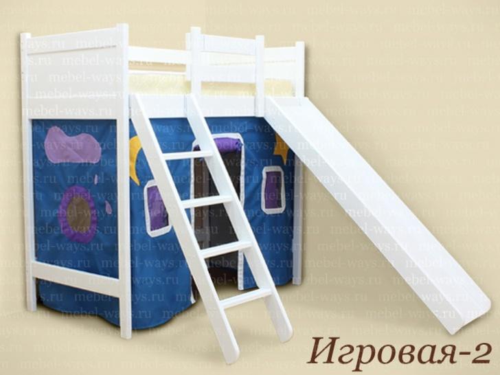 Детская кровать чердак с горкой «Игровая-2»