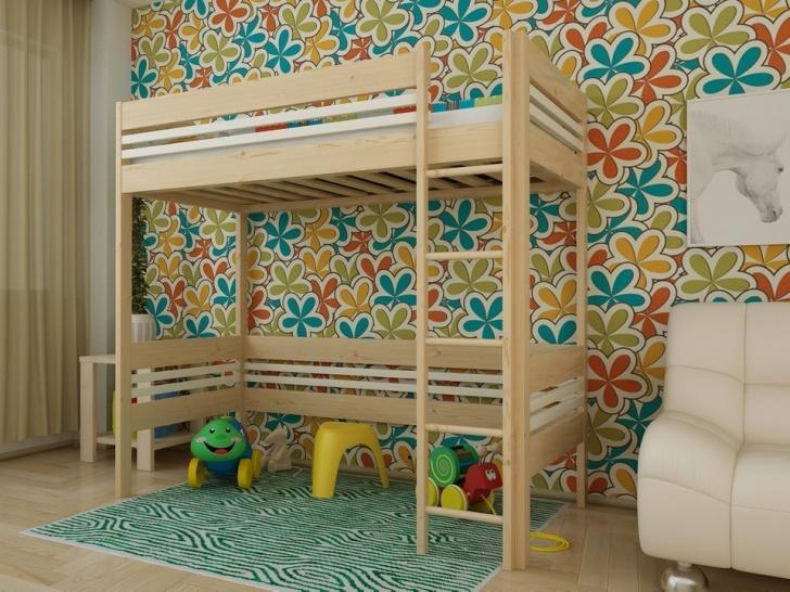 Кровать-чердак с игровой зоной «Руфина 25» в двух оттенках дерева
