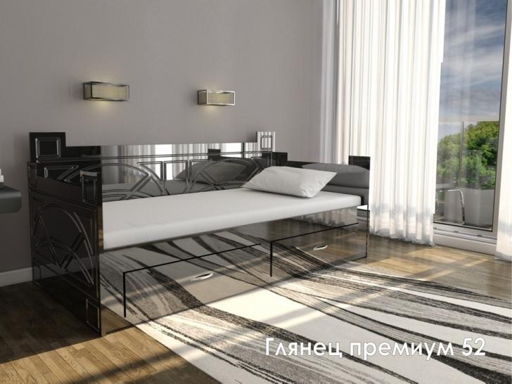 Кровать диван черный «Глянец Премиум-52»