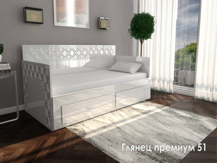 Кровать диван прямой с ящиком для белья «Глянец Премиум – 51»
