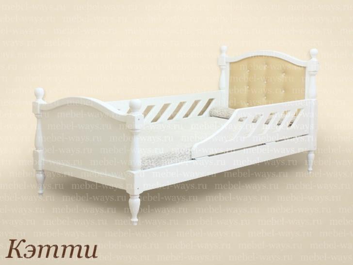 Белая кровать из массива для девочки «Кэтти»
