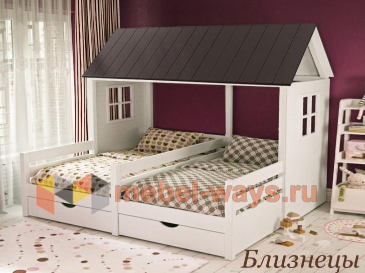 Кровать-домик для двух детей двойняшек «Близнецы»